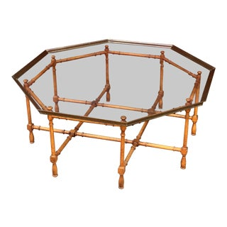 1970s Hollywood Regency Faux Bamboo Octagonal Coffee Table For Sale