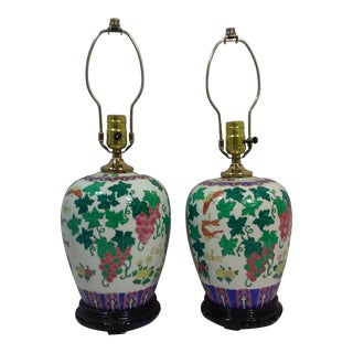 Chinoiserie Ginger Jar Accent Lamps-A Pair For Sale