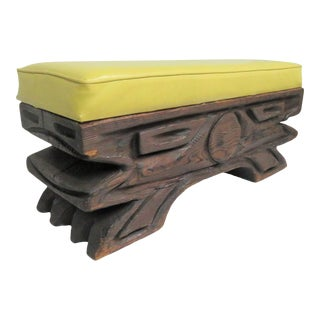 Vintage Mid Century Witco Tiki Carved Pine Bench For Sale