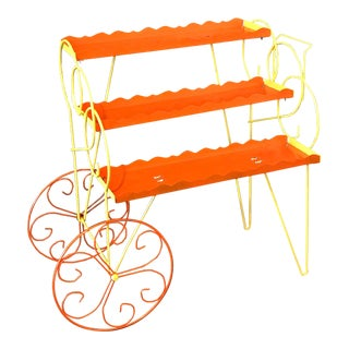 1950s Vintage Flower Cart Plant Stand For Sale