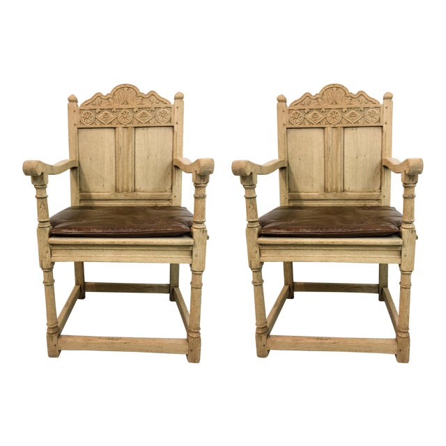 Antique French Bleached Oak Armchairs - A Pair For Sale