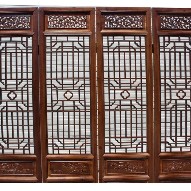 Chinese Brown Geometric Pattern Theme Wood Panel Floor Screen For Sale In San Francisco - Image 6 of 8