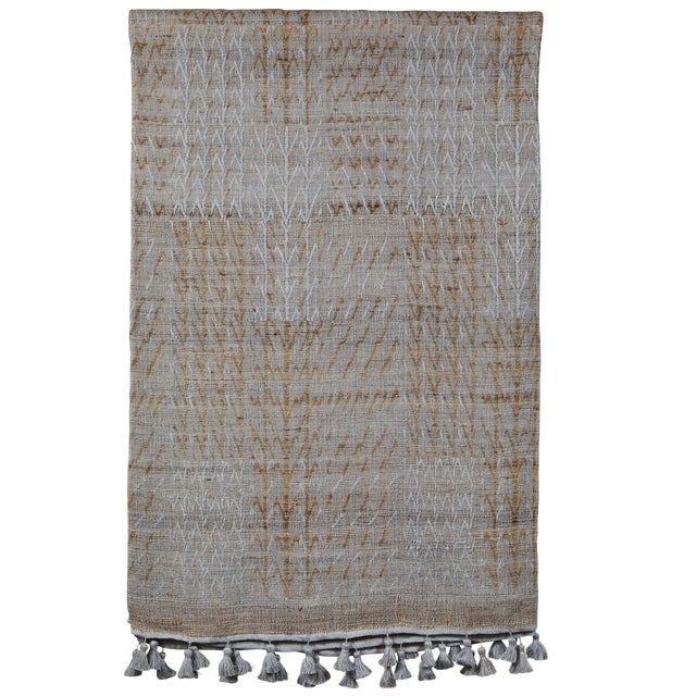 Indian Handwoven Bedcover Tree Pale Blue For Sale