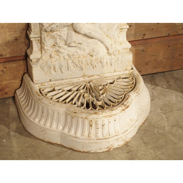 Antique Cast Iron Neptune Wall Fountain from France For Sale - Image 9 of 10