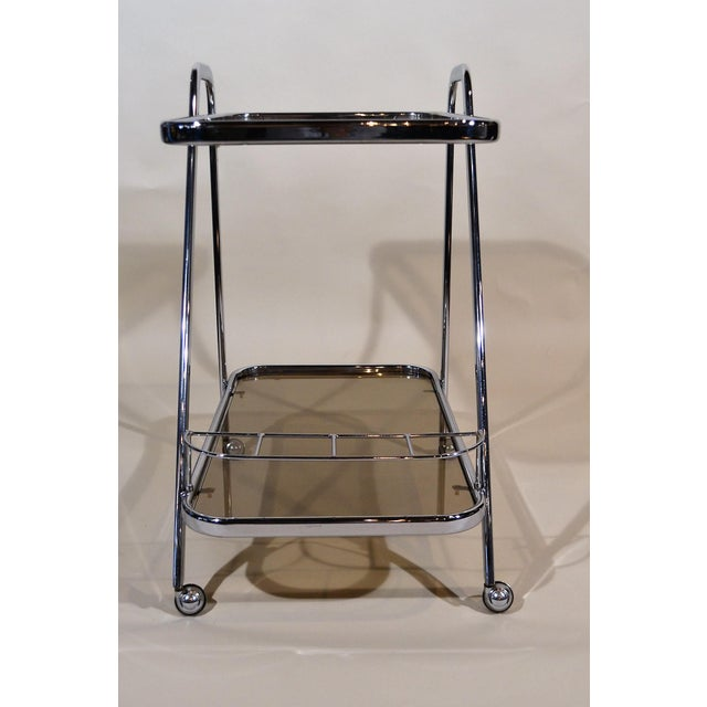 """""""Art Moderne"""" Chrome and Glass Bar Cart For Sale - Image 4 of 4"""