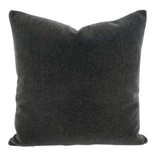 """Mohair Velvet Charcoal Pillow Cover - 20"""" X 20"""" For Sale"""