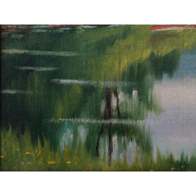 """Early 20th Century """"A Lake in the Berkshires"""" Landscape Oil Painting by J. Campbell Phillips, Framed For Sale In New York - Image 6 of 10"""