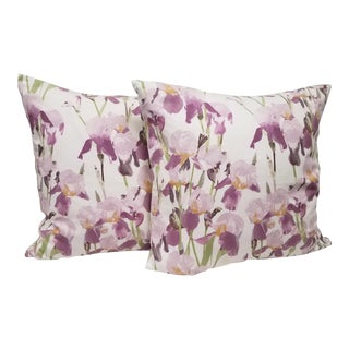 Purple Lavender Iris Square Pillows - A Pair For Sale
