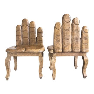 1970s Vintage Carved Hand Chairs - A Pair For Sale