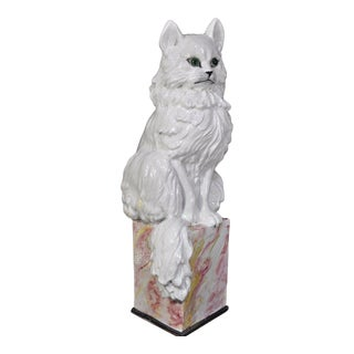 Vintage Whimsical Italian Hollywood Regency Terra Cotta Cat Garden Sculpture