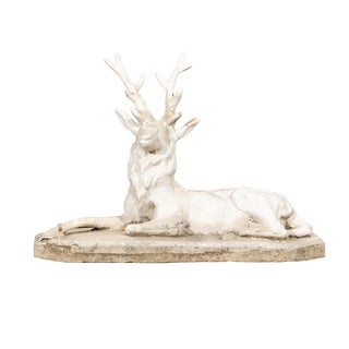 French Concrete Stag For Sale