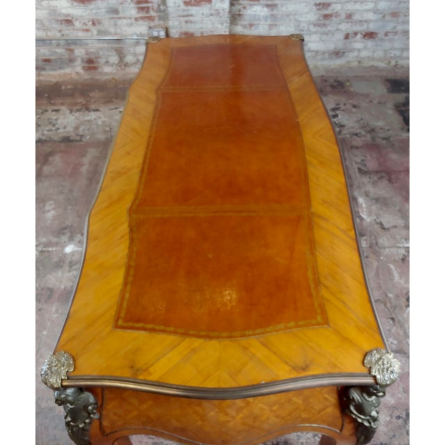 1920s Louis XV Bureau Plat-Bronze Mounted, Inlaid Parquetry and Leather Top- Desk For Sale - Image 5 of 10