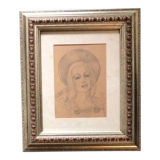 Original Deco 1930's Beautiful Female Portrait Drawing For Sale