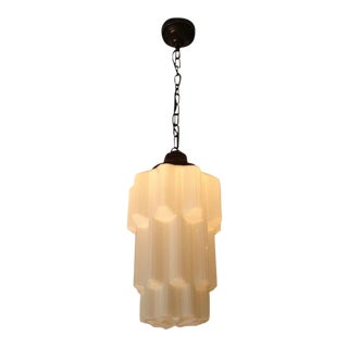 1920s Deco Era Milk Glass Hanging Light For Sale