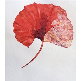 Red Gingko Leaf Contemporary Watercolor Painting For Sale