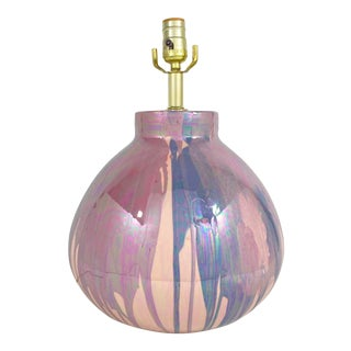 1980s Vintage Drip Glaze Ceramic Lamp For Sale