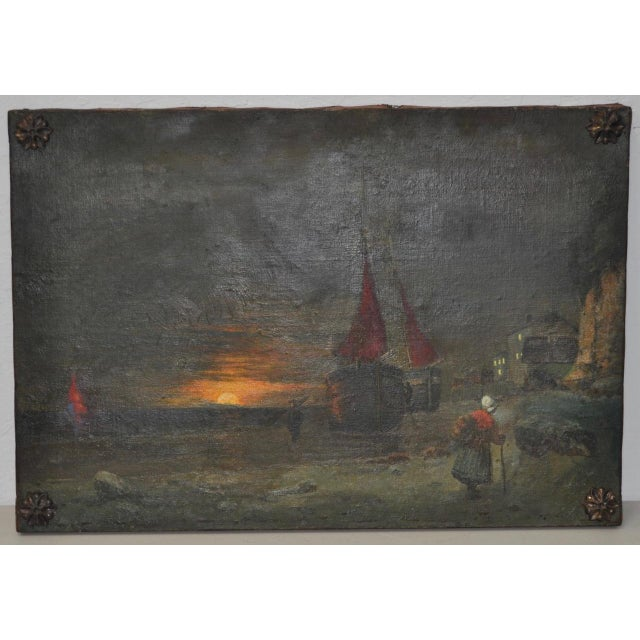 Antique Dutch Landscape Oil Painting Late 19th to Early 20th Century. Wonderful scene of fishing boats and figures at...