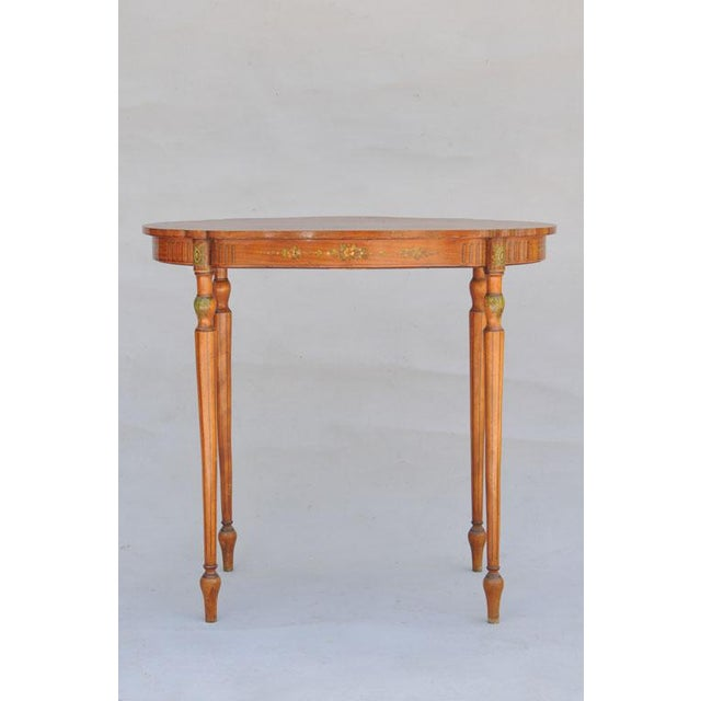 Exquisite Hand Painted Satinwood Table For Sale - Image 4 of 10