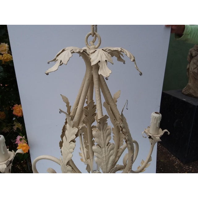 White 1980's Scrolling Iron Chandelier For Sale - Image 8 of 9