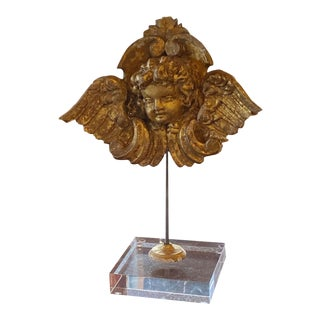 Gilt Angel or Putti Mounted on Lucite For Sale