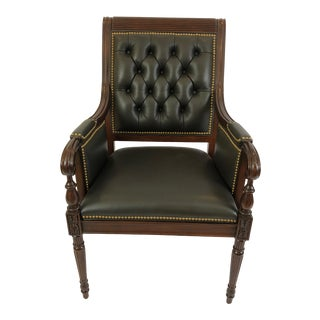 Hancock & Moore Dark Taupe Leather and Mahogany Armchair For Sale