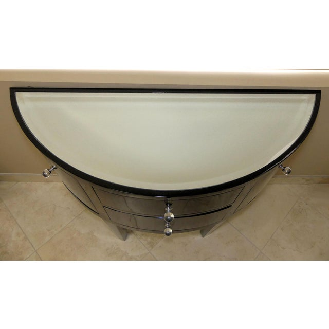 Contemporary Black Lacquered Demilune Console Cabinet With Mirrored Top For Sale In West Palm - Image 6 of 9
