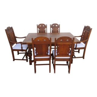 Heavy Carved Jacobean Dining Set Refractory Table and 6 Chairs 1631 For Sale
