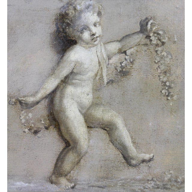 Mid 19th Century French Grisaille Oil Painting on Canvas of Putti For Sale - Image 5 of 8