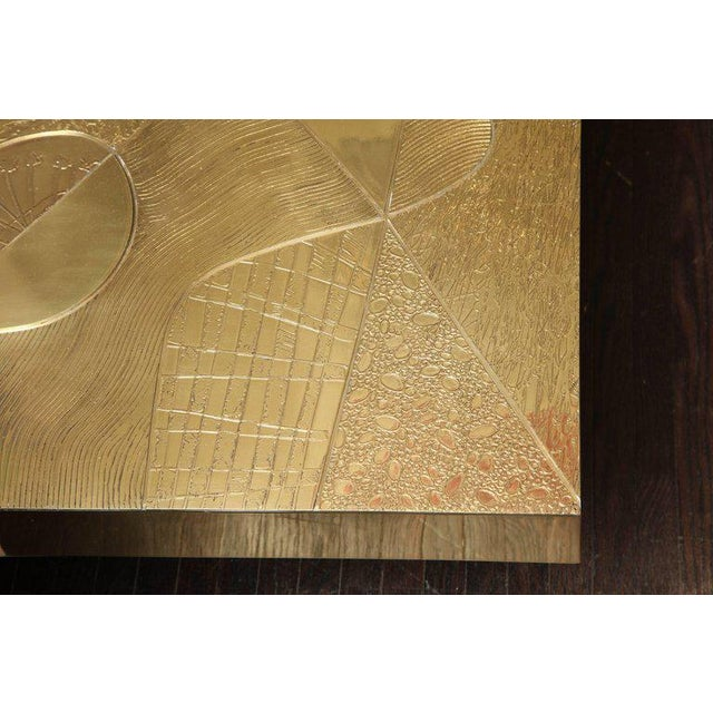 Venfield Spectacular Etched Brass and Double Agate Rectangular Cocktail Table For Sale - Image 4 of 10