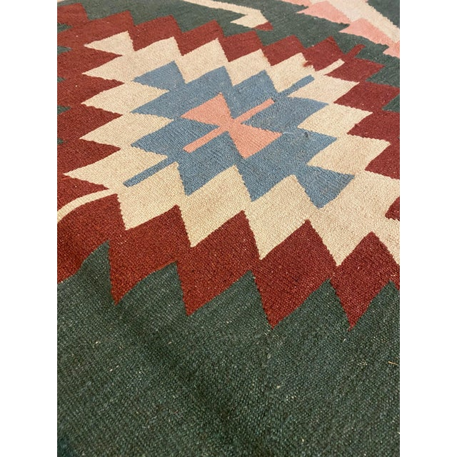 Native American Vintage Handwoven Wool Flat Weave Fringed Turkish Rug For Sale - Image 3 of 6
