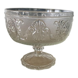 Ornate Glass Pedestal Bowl For Sale
