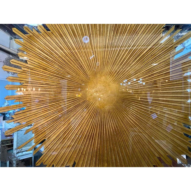 Monumental Gilt Gold & Silver Glass Sunburst Mirrors or Table Top Pair For Sale In New York - Image 6 of 13