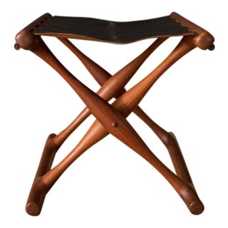 Vintage Leather and Teak Folding Stool by Poul Hundevad For Sale