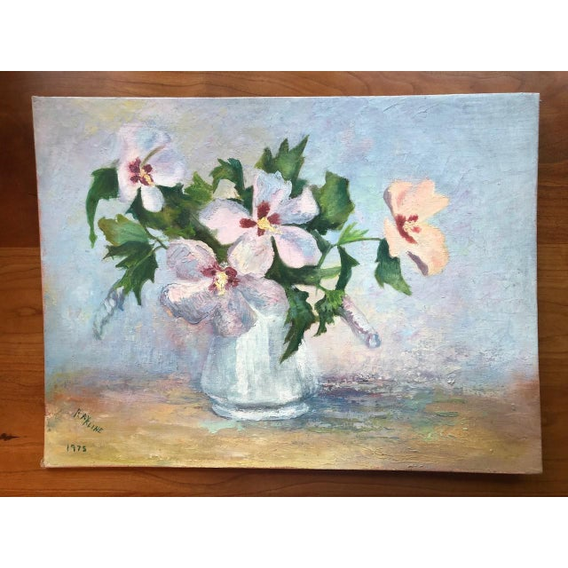1970s Vintage Floral in Bloom Still Life Painting For Sale - Image 12 of 12