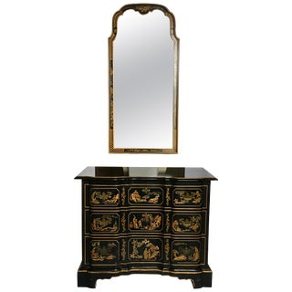 1970s Chinoiserie Asian Style Serpentine Chest Dresser and Wall Mirror-a Pair For Sale