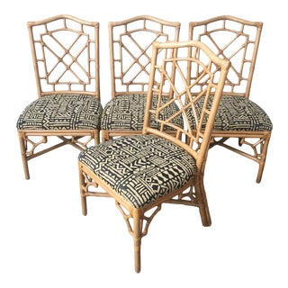 Organic Modern Rattan Dining Chairs by Lexington Furniture - Set of 4 For Sale