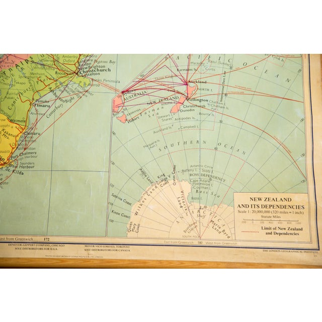 1960s Vintage New Zealand Pull Down Map - Image 7 of 8