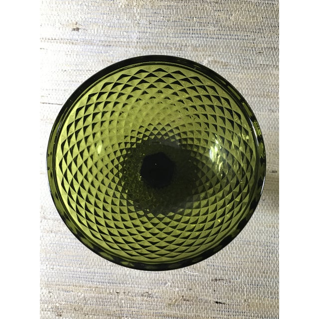 Mid-Century Textured Green Glass Goblets- A Pair For Sale - Image 5 of 5