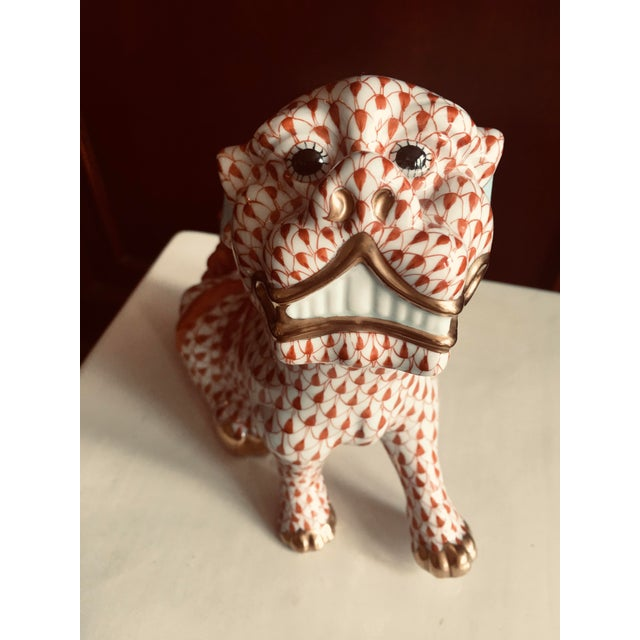 Herend Rust Colored Fishnet Pattern Foo Dog Figurine For Sale - Image 11 of 11