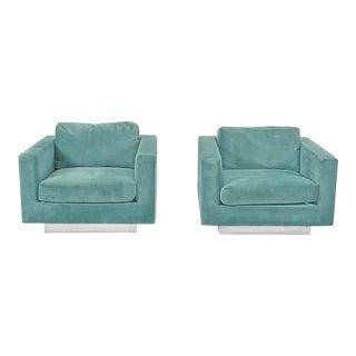 1960s Dunbar Velvet Tuxedo Lounge Chairs on Chrome Bases, Edward Wormley - A Pair For Sale