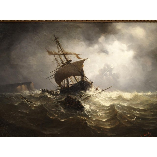 This magnificent oil on canvas marine painting is by the 19th century French artist, Eugene Petit (Born 1840 in Brest,...