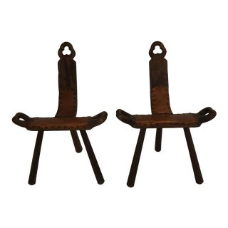 Wooden 3 Leg Birthing Stools - A Pair