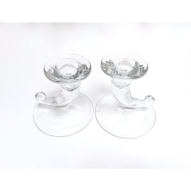 Mid-Century Modern Vintage Glass Horn Taper Candle Holders - A Pair For Sale - Image 3 of 9