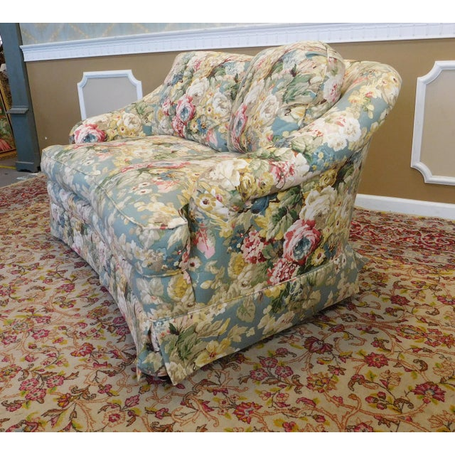 1980s Contemporary Overstuffed Upholstered Floral Sherrill