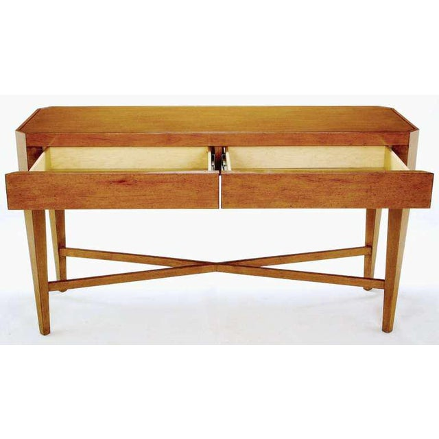 Late 20th Century Nancy Corzine Glazed Maple X-Based Art Moderne Console Sideboard For Sale - Image 5 of 11