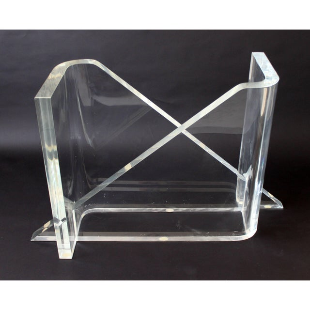 For your consideration is a chic square dining table, made of thick Lucite and glass, designed and signed by Gary...