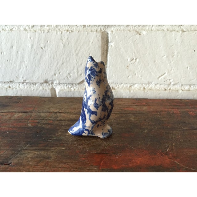 Mottled Ceramic Blue Pie Bird by Clay City - Image 2 of 6