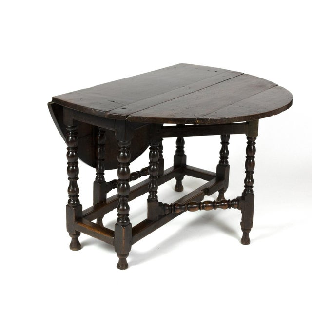 Handsome English Oak Gateleg Table With Bobbin Turned Legs, Wonderfully Rich Patination, Circa 1800. For Sale In San Francisco - Image 6 of 13