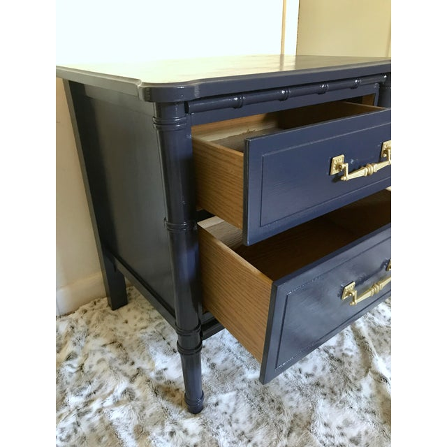Vintage Mid-Century Henry Link Style Navy Blue Faux Bamboo Nightstand For Sale - Image 10 of 13
