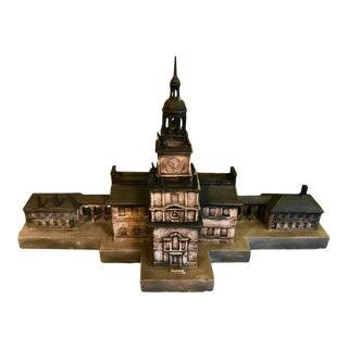 Vintage Polychromed Plaster Architectural Model of Independence Hall